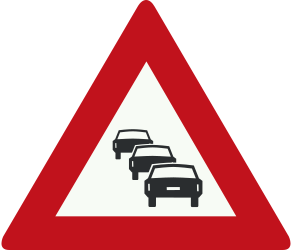 Traffic sign of Netherlands: Warning for traffic jams