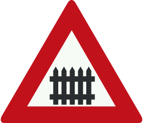 Traffic sign of Netherlands: Warning for a railroad crossing with barriers