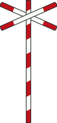 Traffic sign of Netherlands: Warning for a railroad crossing with 1 railway