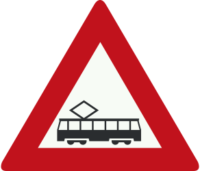 Traffic sign of Netherlands: Warning for trams