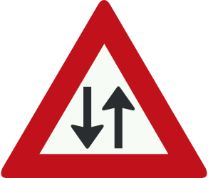 Traffic sign of Netherlands: Warning for a road with two-way traffic