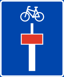 Traffic sign of Norway: Dead end street with a passage for pedestrians and cyclists