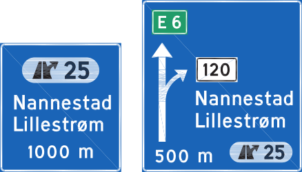 Traffic sign of Norway: Information about the next exit