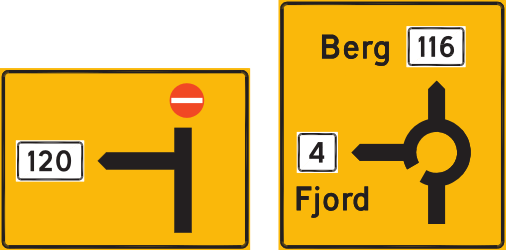 Traffic sign of Norway: Information about the directions of the roundabout