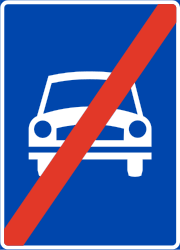 Traffic sign of Norway: End of the expressway