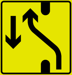 Traffic sign of Norway: Temporary change in the direction of the lanes