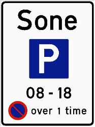 Traffic sign of Norway: Begin of a parking zone