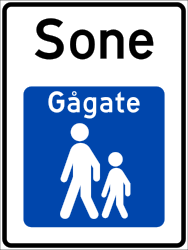 Traffic sign of Norway: Begin of a zone for pedestrians