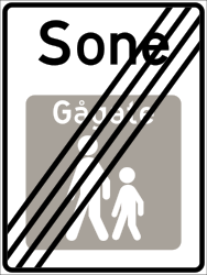 Traffic sign of Norway: End of the zone for pedestrians