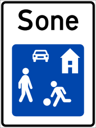 Traffic sign of Norway: Begin of a residential area