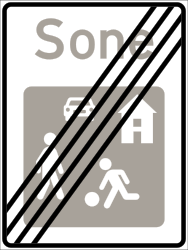 Traffic sign of Norway: End of the residential area