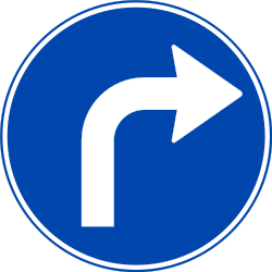 Traffic sign of Norway: Turning right mandatory
