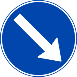 Traffic sign of Norway: Passing right mandatory