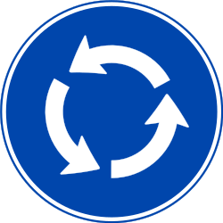 Traffic sign of Norway: Mandatory direction of the roundabout