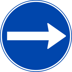 Traffic sign of Norway: Mandatory right