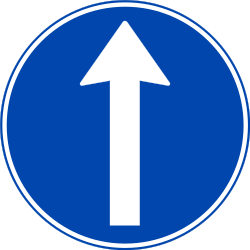 Traffic sign of Norway: Driving straight ahead mandatory