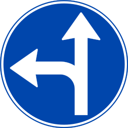 Traffic sign of Norway: Driving straight ahead or turning left mandatory