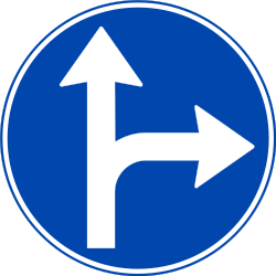 Traffic sign of Norway: Driving straight ahead or turning right mandatory