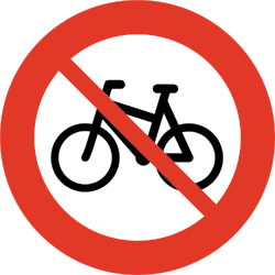 Traffic sign of Norway: Cyclists prohibited