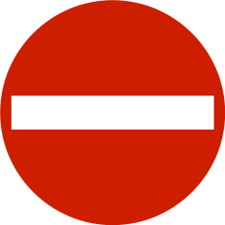 Traffic sign of Norway: Entry prohibited (road with one-way traffic)