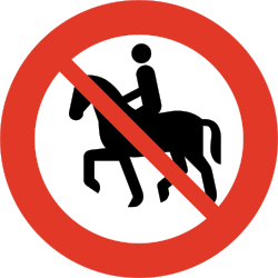 Traffic sign of Norway: Equestrians prohibited