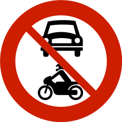 Traffic sign of Norway: Motorcycles and cars prohibited