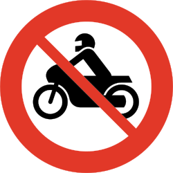 Traffic sign of Norway: Motorcycles prohibited