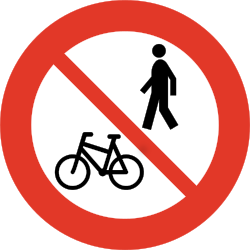 Traffic sign of Norway: Pedestrians and cyclists prohibited
