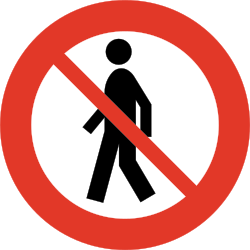 Traffic sign of Norway: Pedestrians prohibited