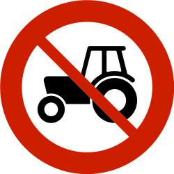 Traffic sign of Norway: Tractors prohibited