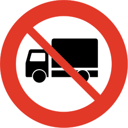 Traffic sign of Norway: Trucks prohibited