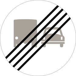 Traffic sign of Norway: End of the overtaking prohibition for trucks