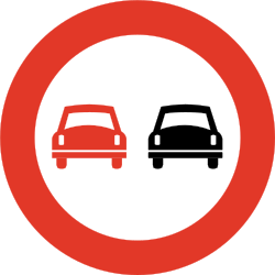 Traffic sign of Norway: Overtaking prohibited