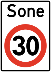Traffic sign of Norway: Begin of a zone with speed limit