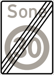 Traffic sign of Norway: End of the zone with speed limit