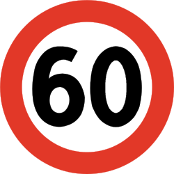 Traffic sign of Norway: Begin of a speed limit