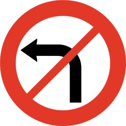 Traffic sign of Norway: Turning left prohibited