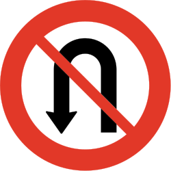 Traffic sign of Norway: <b>Turning</b> around prohibited (<a href='/en/norway/overview/u-turn'>U-turn</a>)