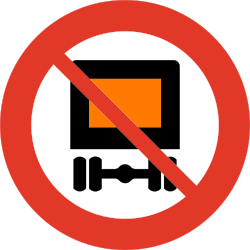 Traffic sign of Norway: Vehicles with dangerous goods prohibited