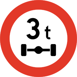 Traffic sign of Norway: Vehicles with an axle weight heavier than indicated prohibited