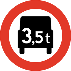 Traffic sign of Norway: Trucks heavier than indicated prohibited
