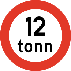 Traffic sign of Norway: Vehicles heavier than indicated prohibited