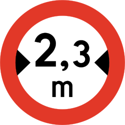 Traffic sign of Norway: Vehicles wider than indicated prohibited