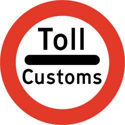 Traffic sign of Norway: Entry prohibited (checkpoint)