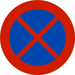 Traffic sign of Norway: Parking and stopping prohibited