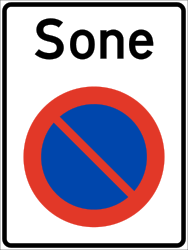 Traffic sign of Norway: Begin of zone where parking is prohibited