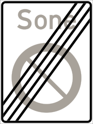Traffic sign of Norway: End of the zone where parking is prohibited