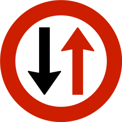 Traffic sign of Norway: Road narrowing, give way to oncoming drivers