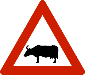 Traffic sign of Norway: Warning for cattle on the road