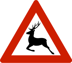 Traffic sign of Norway: Warning for crossing deer